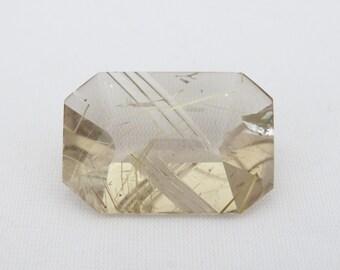 Vintage 58.5ct Emerald cut Natural Golden Rutilated Quartz Loose Gemstone