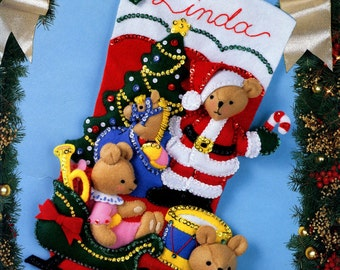 "Bucilla Teddy Collection ~ 18"" Felt Christmas Stocking Kit #83008, Bears, Santa DIY"