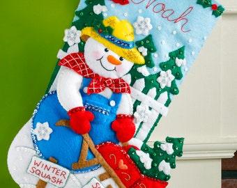 "Bucilla ~ ""Snow Garden"" Felt Christmas Stocking Kit #86549 DIY"