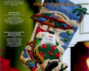 "Bucilla Coolin' It ~ 18"" Felt Christmas Stocking Kit #86105, Santa, Beach, Ocean DIY"
