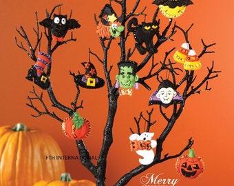 Bucilla ~ Halloween ~12 Pce. Felt Ornament Kit #86430 Ghost Witch Pumpkin Vampire DIY