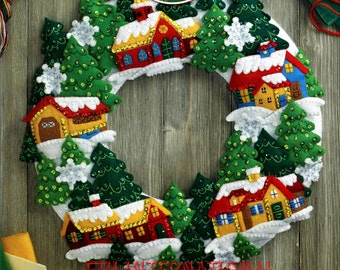 Bucilla Snow Village Wreath ~ Felt Christmas Home Decor Kit #86686, Church Trees DIY