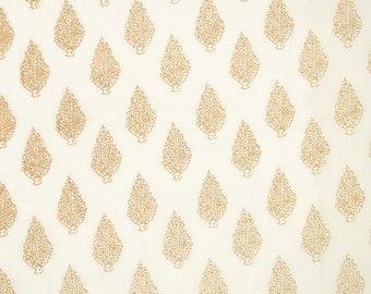COTTON FABRIC 15 - Gold leaf foliage motif