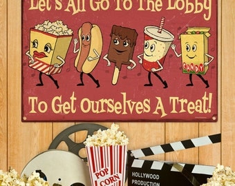 Movie Lobby Dancing Snacks Theater Sign 20 x 28 - #56128