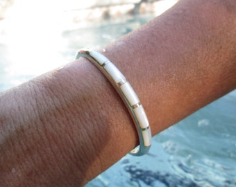 Mother of Pearl and Sterling Cuff Bracelet