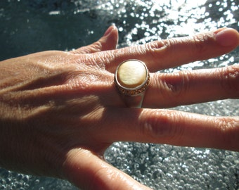 Gold Mother of Pearl, Citrine and Sterling Silver Ring Size 7