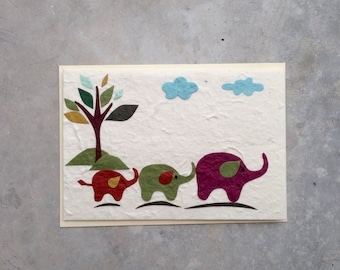 Cute Elephant Thai Mulberry Paper Recycled Blank Greeting Card, Thinking of you card , Birthday Card