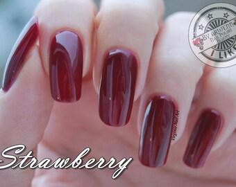 Strawberry , 15 ML, free, vegan, handmade nail polish
