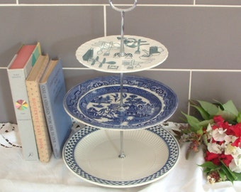 Beautiful Vintage Plates Cake Stand - 3 Tier - With Contrasting Blue, White Plates and silver Stem - F22