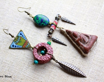 El Suelo tribal nomad primitive tribe natural earrings