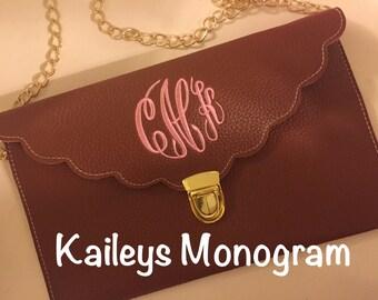 Monogram Clutch - Brown - Clutch - Bridesmaid Gifts