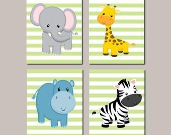 Baby Boy Nursery Art JUNGLE Animals Nursery Wall Art ELEPHANT Giraffe Zebra Hippo Zoo Baby Animals Baby Shower Set of 4 Prints Or Canvas