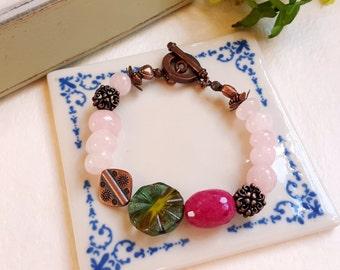 Rose quartz Czech glass gemstone antique copper Boho bracelet Fuchsia Pink Olive green