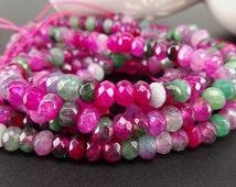 Full Strand 6x4mm 90pcs Fuschia Green Agate Faceted Rondelle Beads Agate Gemstone Beads