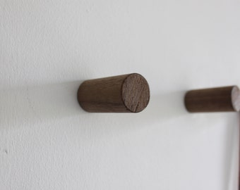 4 x Walnut wall hooks, picture hooks, coat hooks contemporary