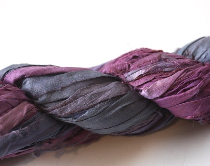 NEW** - Hand Dyed Double Colour Recycled Sari Silk Ribbon - 'Dusk'