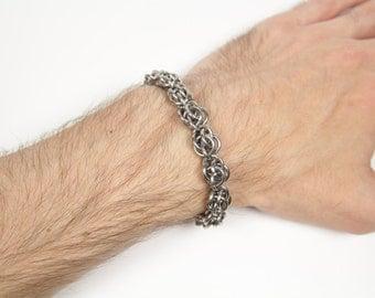 Sweetpea Bracelet, Chainmaille Bracelet, Stainless Steel, Chainmail Bracelet, Chain Maille Bracelet, Mens Bracelet, Mens Jewelry