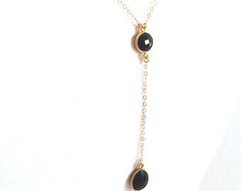 Black Onyx Gold Y Necklace, Teardrop Black Onyx Necklace, Y Necklace, Gold Filled Chain Necklace