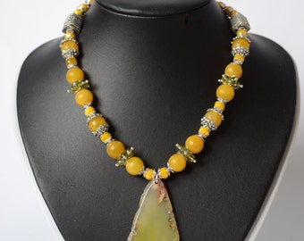Necklace made of natural stones necklace with agates the agate slice  yellow necklace boho necklace