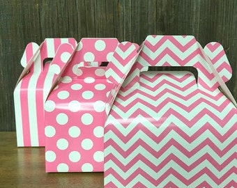 ON SALE Pink Chevron, Stripe, Polka Dot Wedding Gable Boxes- Treat or Favor Box, Candy Buffet- 36 Ct.