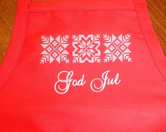 Embroidered Red Apron ~  Swedish Norwegian Danish God Jul Candy Cane Letters or Nordic Snowflakes