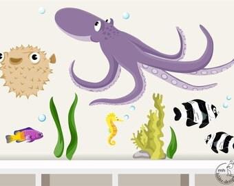 "Wall decal ""Underwater World 6"" Baby nursery marine animals sea ocean"