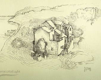 "House near the Sea - Original Handmade Ink Drawing, Black ink on Paper, Size: 11.7"" x 8.2"" (A4, 29x21cm)"