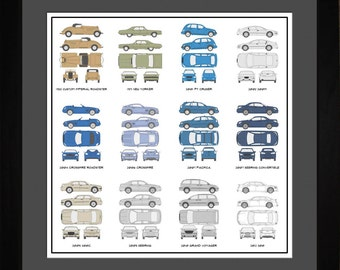 Chrysler Auto Collection Drawing Art Car 300 Crossfire PT Cruiser Pacifica Sebring Gift AACUR1616