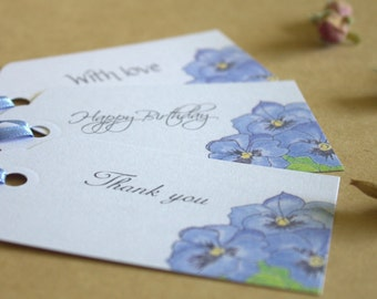 Birthday / Wedding / Thank you Gift Tags x 12 With Cornflower Blue Ribbon