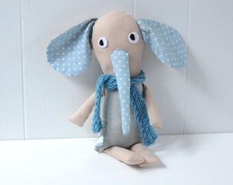 Handmade elephant,  cloth elephant Gerald folk eco friendly ooak cotton toy turqouise blue beige stuffed animal rag doll small gift