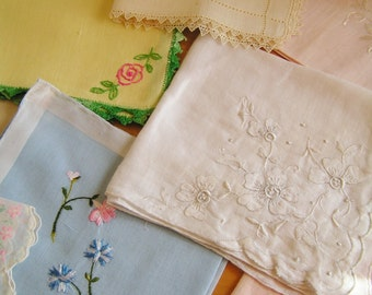 Lot of 9 Vintage Applique Crochet and Embroidered Hankies Fantastic Condition Scalloped Edges Cottage Chic