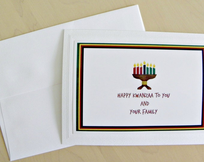 KWANZAA Greeting CARD SET - 12 blank inside Cards and Envelopes, and Free Domestic Shipping