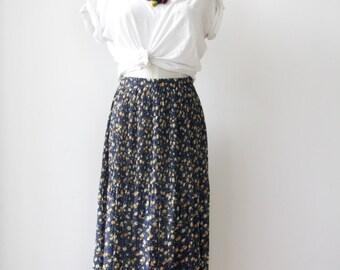 Navy micro pleat skirt. 90s floral blue skirt. Pleats Please style skirt. Navy folk skirt. Sheer floral pleated skirt