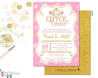 Princess Baby Shower Invitation (SKU# PBCI01) - New Baby Invitation - Girls Baby Shower Invitation - Gold and Pink Invitation