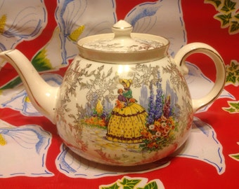 Vintage Gibsons teapot with Victorian lady and gold accents- Staffordshire, England