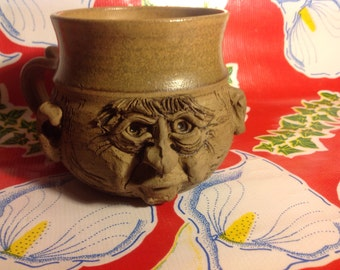 Vintage Hassfeld Pottery hand crafted stoneware face mug-1979