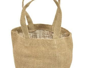 """4"""" x 4"""" x 4"""" Natural Jute Tote Bags (6 Pack)"""