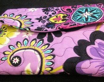 Handmade - Custom - Ladies - Womans Trifold Fabric Wallet - Wristlet - Washable - Quilted - Bridesmaid Gift