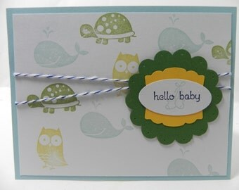 Baby Boy Welcome New Baby Congratulations Hand Stamped Stampin Up Card