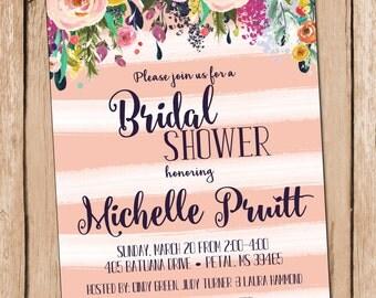 Bridal Shower Invitation Bridal Shower Invite Floral Watercolor Bridal Shower Invitation