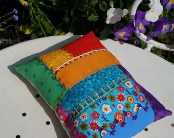 Handmade and Hand Embroidered Rainbow Pincushion