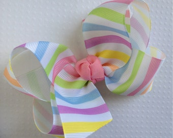 READY TO SHIP Large Easter Pastel Spring Striped Hair Bow