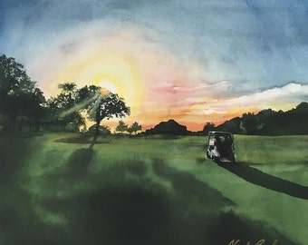 Golf Shadows - Original watercolor painting