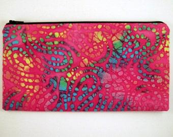 Pink, Colorful Batik Zipper Pouch, Colorful Pencil Pouch, Batik Make Up Bag, Gadget Bag