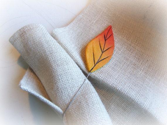 Curtain tie backs with orange leaf Magnetic tiebacks Leaves curtain ...
