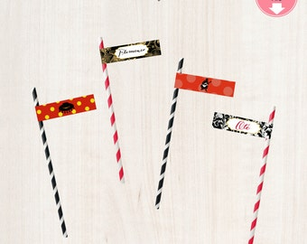 Flamenco Straw Flags Flamenco Birthday Party  Flamenco Themed Spanish Party Spain Straw Flags Printables Instant Download