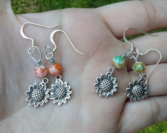 Sunflower earrings.