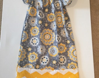 Girls peasant dress spring dress yellow and grey dress sizes 3mo-8 yrs