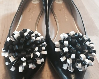 Black AND White Pompon Shoe Clips