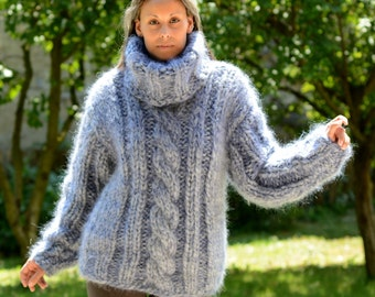 Hand Knit Mohair Sweater Light Gray Ultra Thick 10 Strands Cable Fuzzy Jumper Pullover Jersey - MADE to ORDER - by Extravagantza